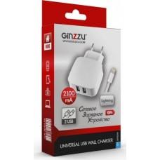 Ginzzu GA-3010UW, White сетевое зарядное устройство + кабель Lightning