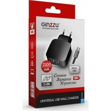 Ginzzu GA-3010UB, Black сетевое зарядное устройство + кабель micro USB