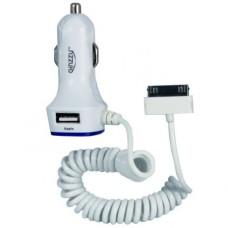 Автомобильное зарядное устройство Ginzzu Apple 30-pin, 2USB, 3A, белое (GA-4115UW)