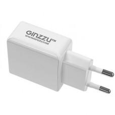 Сетевое зарядное устройство Ginzzu GA-3313UW 3.1A, 2xUSB кабель Apple Lightning 1.0 метра, белое