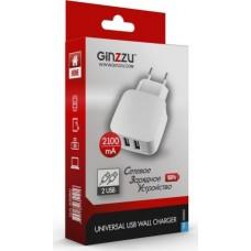 Ginzzu GA-3008W, White сетевое зарядное устройство (2,1 A)
