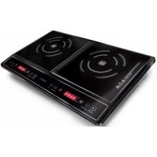 Плитка индукционная GINZZU HCI-205 черная, 1400Вт+2000Вт, сенсорное управление, 2 конфорки